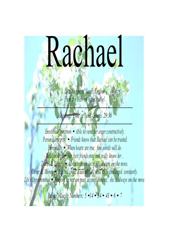 Rachael Firstnamelist Com